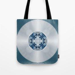 Vinyl Record Illusion in Blue Tote Bag