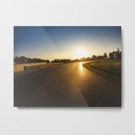car running on a summer road  Metal Print