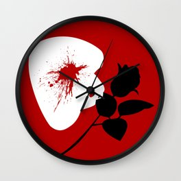 Red Mask and Rose Wall Clock