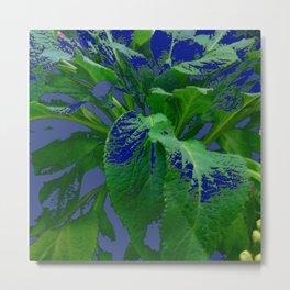 ABSTRACTED GREEN & PURPLE GARDEN LEAVES  MODERN ART Metal Print