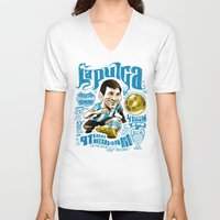 argentina V-neck T-shirts featuring Pulga Argentina by Gonza Rodriguez