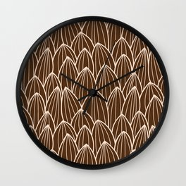 Cactus grid brown Wall Clock