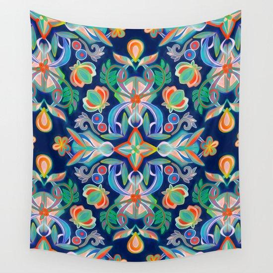 Boho Navy and Brights Wall Tapestry
