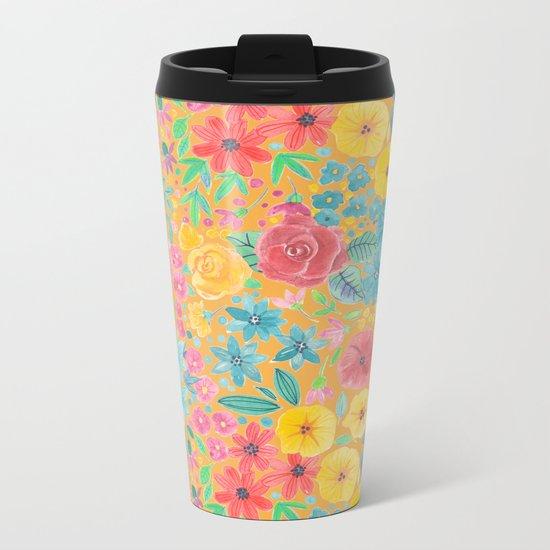 Floral watercolor pattern in yellow Metal Travel Mug