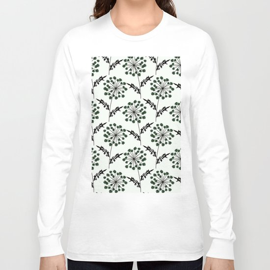 Delicate flowers on a black background. Long Sleeve T-shirt