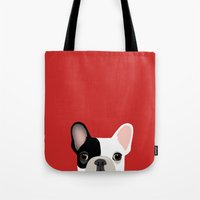 french Tote Bags featuring French Bulldog by Anne Was Here