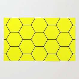 Beehive - Black and yellow hexagon, beehive, honeycomb pattern Rug
