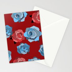 Blue and Pink Rose Pattern Stationery Cards
