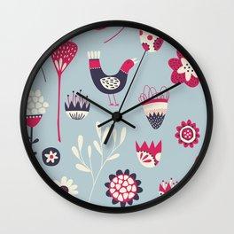 Scandi Birds and Flowers Blue Wall Clock
