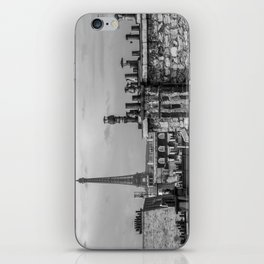 Eiffel Tower and Rooftops Black and White iPhone Skin