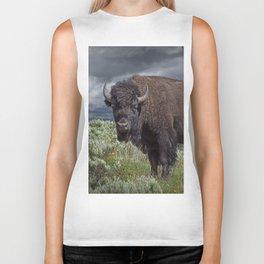 American Buffalo Bison in Yellowstone National Park Biker Tank