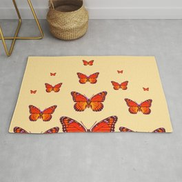 ORANGE MONARCH BUTTERFLIES CREAMY YELLOW Rug