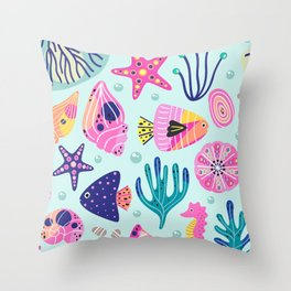 Seashells Seahorses Starfish Beach Throw Pillow