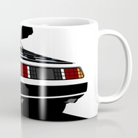 delorean Mugs featuring Delorean - Ghost Image 2 by Geoff Ombao Car Art