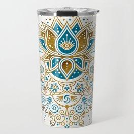 Sacred Lotus Mandala – Teal & Bronze Palette Travel Mug