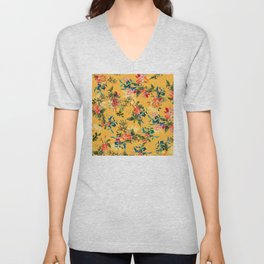 Vintage Hawaiian Tropical Floral Pattern in Papaya Yellow Unisex V-Neck