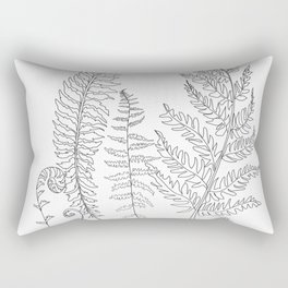 Minimal Line Art Fern Leaves Rectangular Pillow