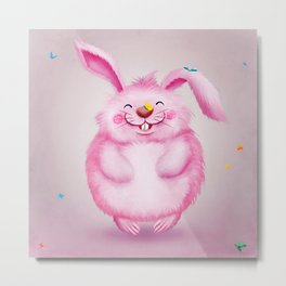 Cute funny pink rabbit with butterflies Metal Print