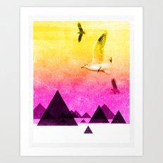 seagulls in shiny sky Art Print