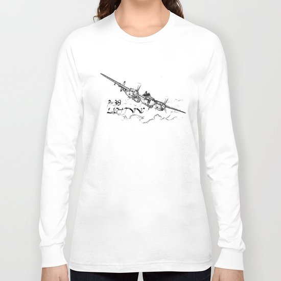 P-38 Lightning line drawing Long Sleeve T-shirt