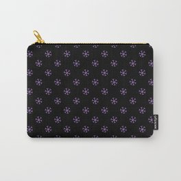 Lavender Violet on Black Snowflakes Carry-All Pouch