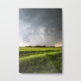 White Tornado - Twister Emerges from Rain Over Field in Kansas Metal Print