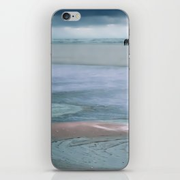 Walk on the beach in winter iPhone Skin