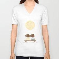 yetiland V-neck T-shirts featuring Moon Gazing by Teo Zirinis