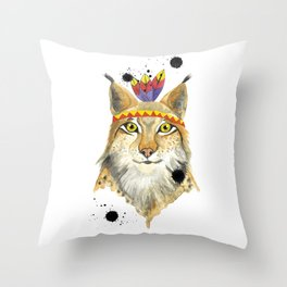 Mr Lynx Throw Pillow