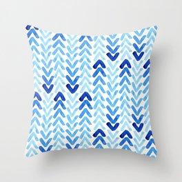 Blue Watercolour Arrows Throw Pillow