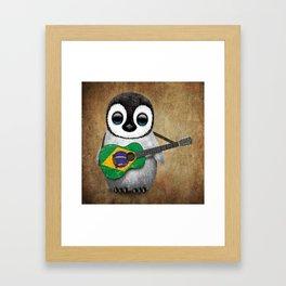 Baby Penguin Playing Brazilian Flag Acoustic Guitar Framed Art Print