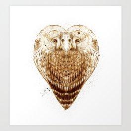 Owl Heart Art Print