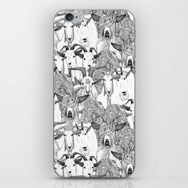 just goats black white iPhone Skin