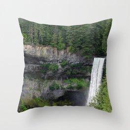 Beautiful Brandywine Falls in Rainforest Near Whistler, British Columbia Throw Pillow