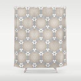 Grey Taupe Hexagon Star Pattern Shower Curtain