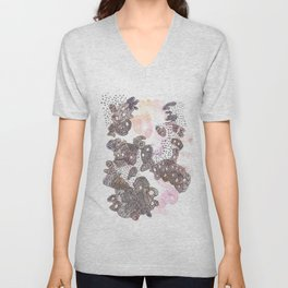 170323 Magical Unfolding 1| Micron Pen Drawing |Modern Watercolor Art Unisex V-Neck