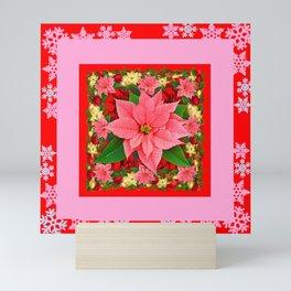 PINK SNOWFLAKES RED & PINK POINSETTIAS CHRISTMAS ART Mini Art Print