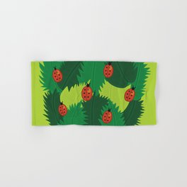 Green Leaves And Ladybugs In Spring Hand & Bath Towel