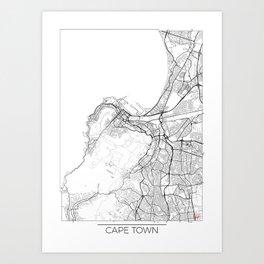 Cape Town Map White Art Print