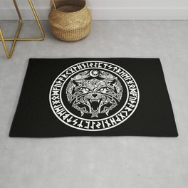 Viking Fenrir Emblem - Wolf Norse Mythology Rug
