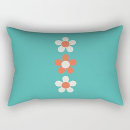 Three Daisies Floating On Azure Blue Rectangular Pillow