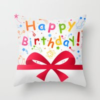 birthday Throw Pillows featuring Birthday by aleksander1