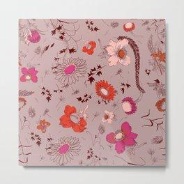 large floral print - pinks Metal Print