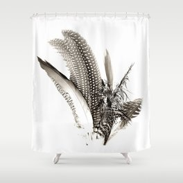 Feather collection boho black and white, neutral, minimal, nature throw pillow Shower Curtain