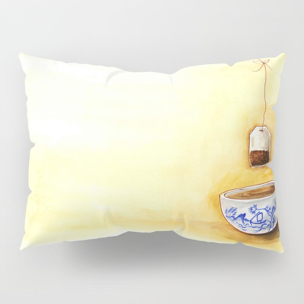 A Cup Of Tea Watercolor Illustration Pillow Sham by Bonheurem PSH9020234