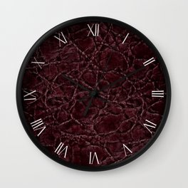 Dark frayed leather texture abstracts Wall Clock