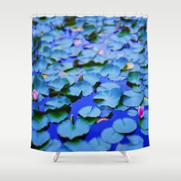 Water lilies in a pond Shower Curtain