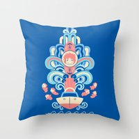 deco Throw Pillows featuring Ponyo Deco by Ashley Hay