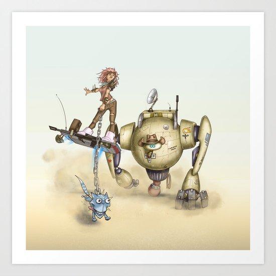 Cowbot 2000 & crew Art Print