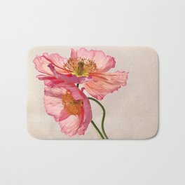 Like Light through Silk - peach / pink translucent poppy floral Bath Mat